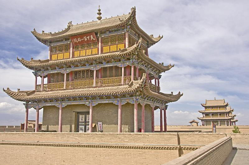 Pagoda-style watch tower on the walls at the Jiayuguan Fort.