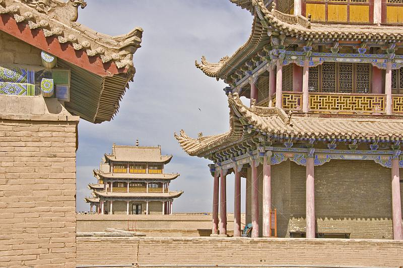 Pagoda-style watch towers on the walls at the Jiayuguan Fort.