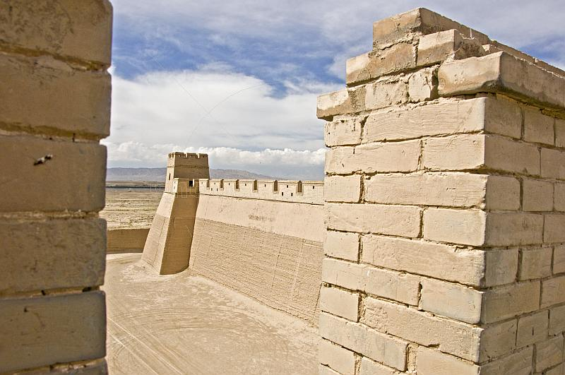 Battlements and walls at the Jiayuguan Fort.