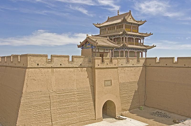 Pagoda-style watch tower and gateway at the Jiayuguan Fort.