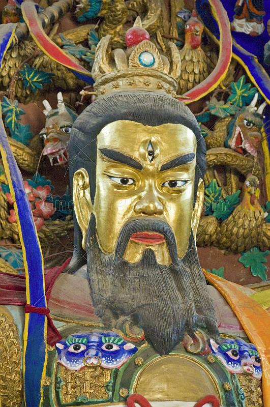 Closeup of temple god in the Taoist Temple of the Flying Horse.