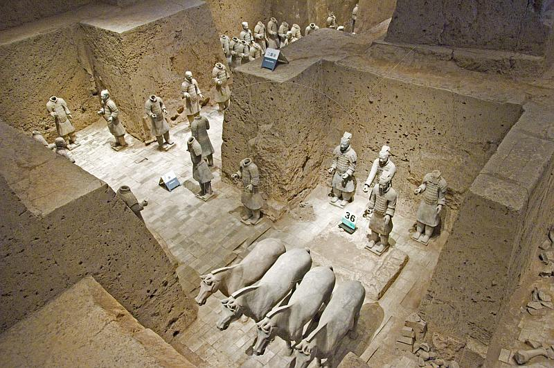 Terracotta warriors and horses in pit number 2.
