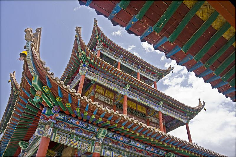 Multi-colored roofs and walls at the Gao Buddhist temple.