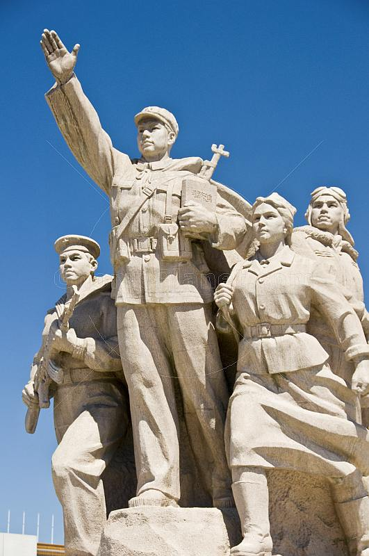 War Memorial showing members of the Chinese armed services in Tiananmen Square.