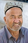 Local Kashgar man with traditional hat, known in Uighur as a doppa.