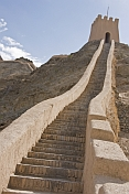 Steps along the reconstructed Great Wall of China at the Shiguan Gorge, near Jiayuguan.