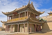 Elaborate Pagoda-roofed temple at the Jiayuguan Fort.