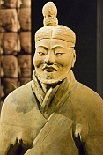 Terracotta warrior on display at the Shaanxi History Museum.