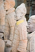 Closeup of Terracotta warriors in pit number 1 show some with patches of original color.