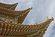 Pagoda-style roof eaves on a watch tower at the Jiayuguan Fort.