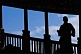 Silhouette of Buddhist monk at the Gao Temple.