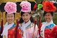 Chinese students dress up in Imperial court robes at Jingshan Park.