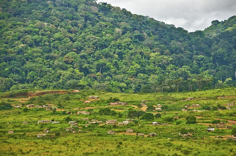 A village of wooden huts occupies cleared rain forest land below tree-covered hills.