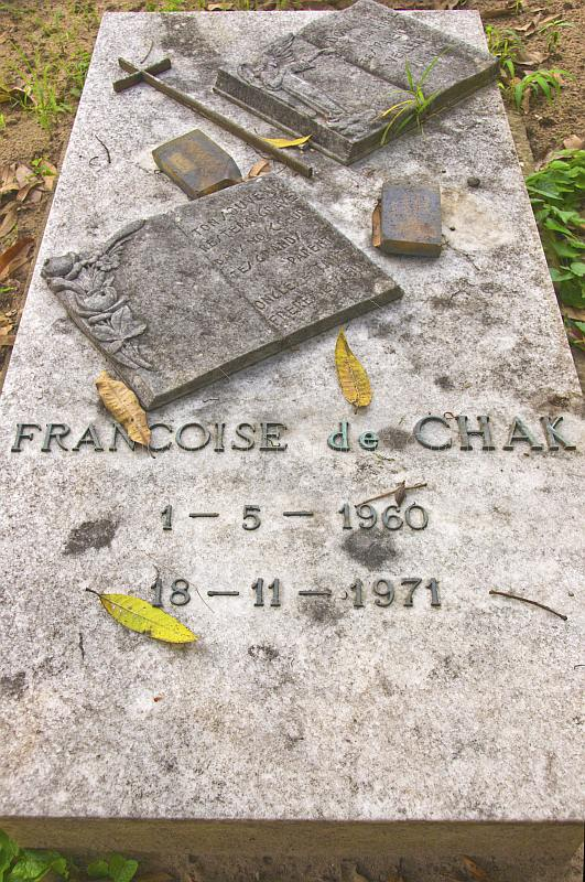 Gravestone of Francoise de Chak in the cemetery at the Sisters of Charity Convent.