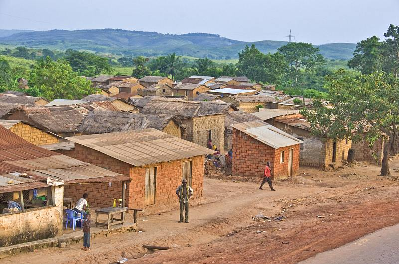 A small village of mud-brick houses next to the main road to Matadi.