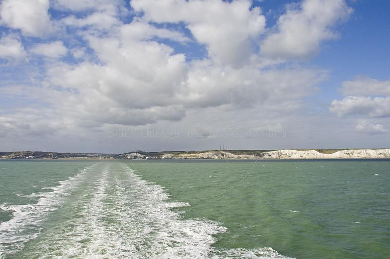 The White Cliffs of Dover, seen from a cross-channel ferry, on its way to France.