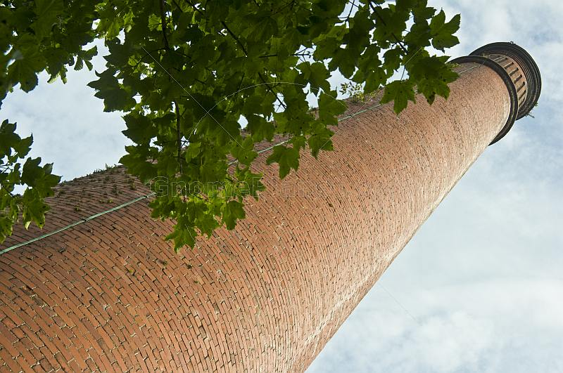 Brick industrial mill chimney with sycamore tree.