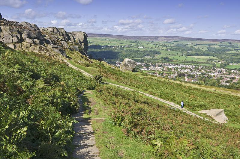 Footpath to Cow and Calf Rocks on Ilkley Moor.