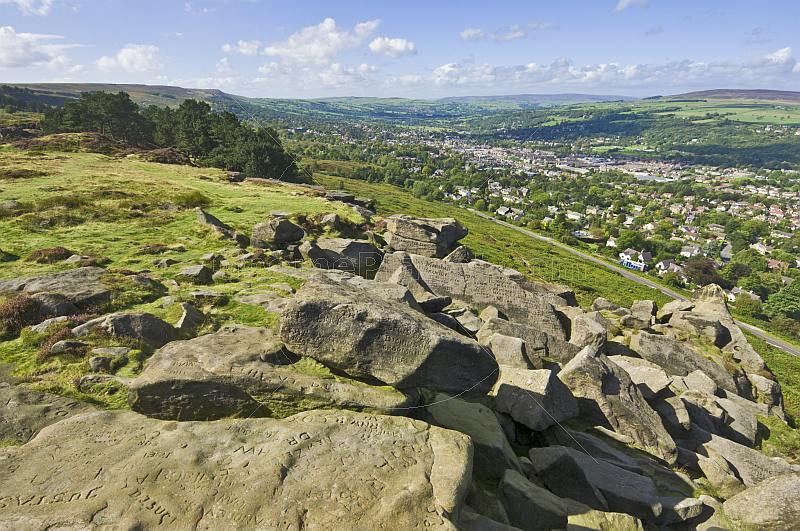 View over Ilkley town from Ilkley Moor and the Cow and Calf Rocks.