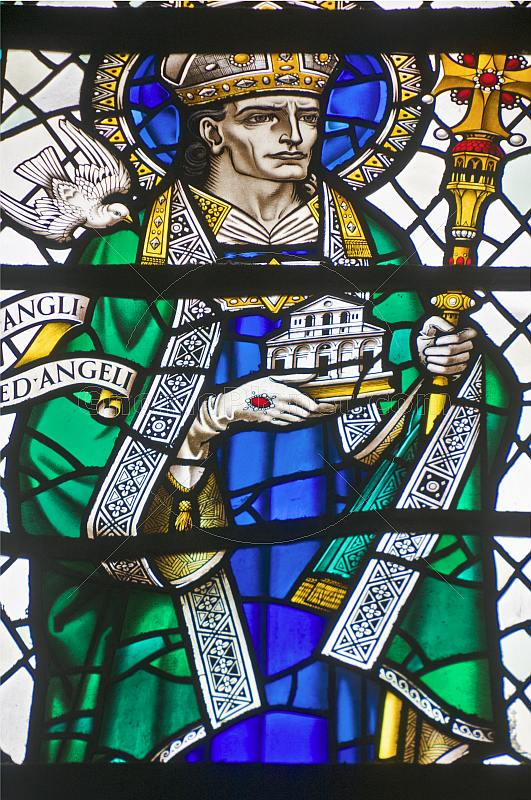 Stained glass window of bishop in the Cathedral Church of Saint Peter.