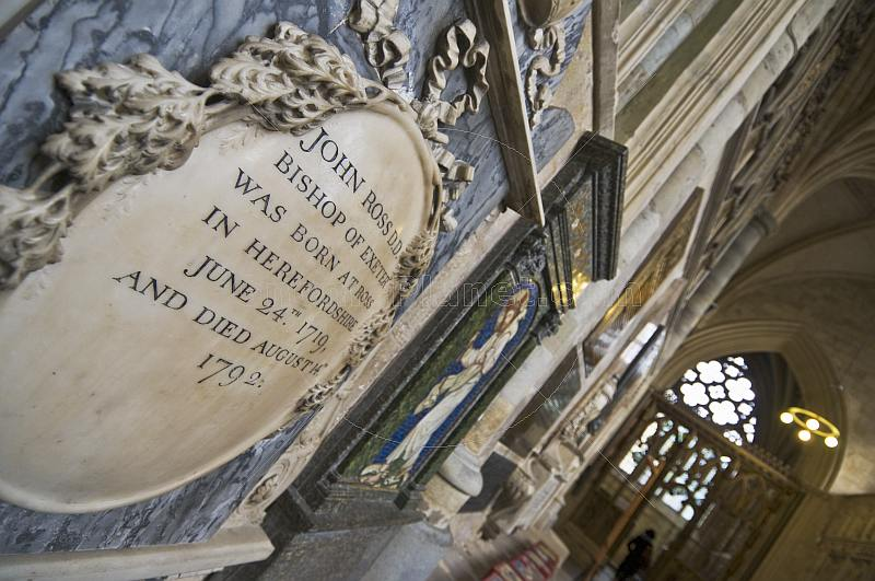 Marble tombstone of bishop in Exeter Cathedral.