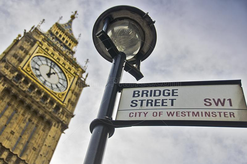 City of Westminster Bridge Street sign outside Big Ben clock tower and Houses of Parliament.
