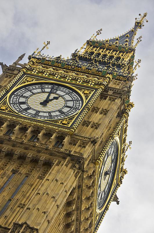 Clock face of the  Big Ben clock tower and Houses of Parliament in City of Westminster.