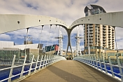 The Trinty Bridge designed by Spanish architect Santiago Calatrava crosses the River Irwell at Salford Quays.