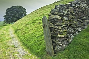 Dry stone wall and gateway leads along old Lake district drovers road.
