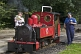 Image of Mother and child look at steam engine Fox at Kirklees Light Railway at Clayton West.