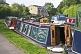 Moored narrow boats on the Leeds Liverpool canal near Belmont Street.