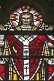Stained glass window of Jesus Christ in the Cathedral Church of Saint Peter.